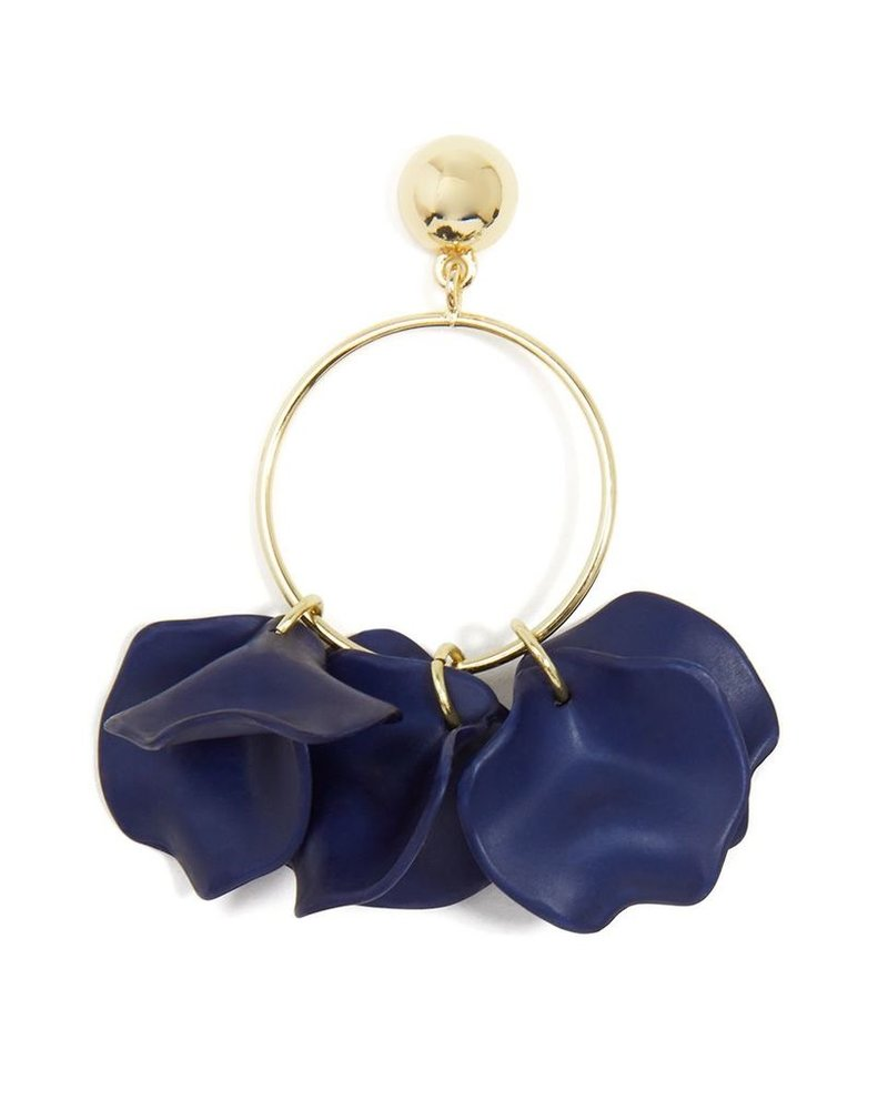 Painted Petals Drop Hoop Earrings In Navy