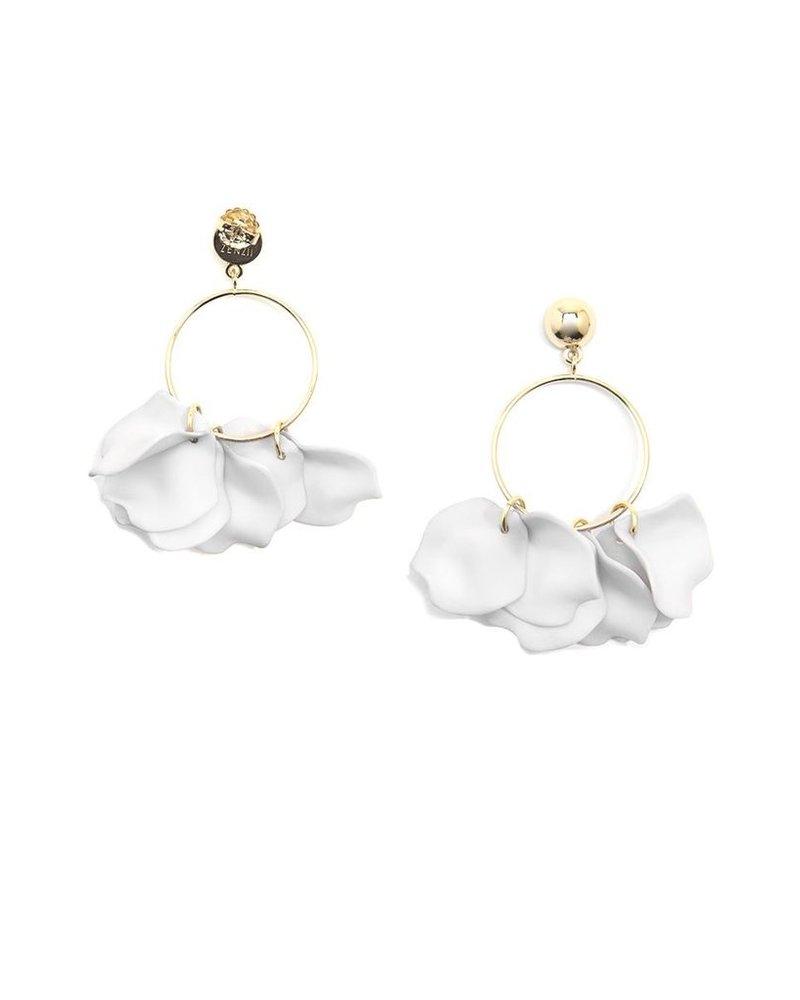 Painted Petals Drop Hoop Earrings In White