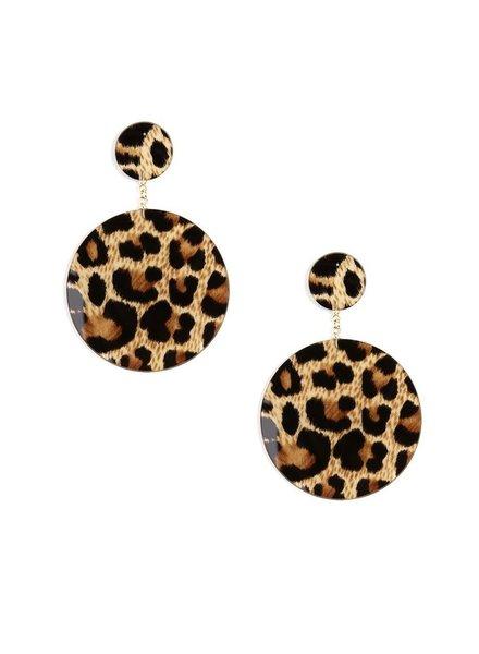 Circle Resin Drop Leopard Earrings
