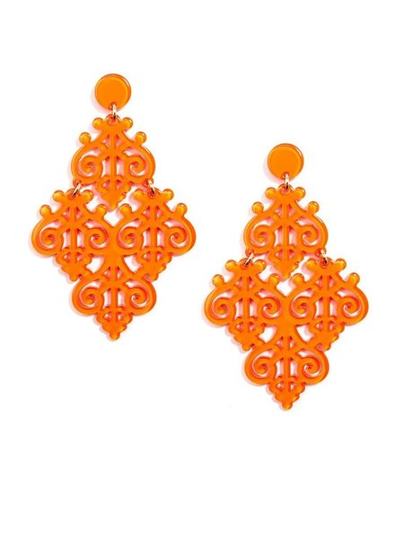 Resin Emblem Statement Earrings In Bright Orange