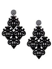 Resin Emblem Statement Earrings In Black