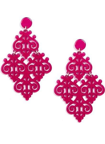 Resin Emblem Statement Earrings In Hot Pink