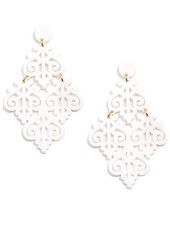 Resin Emblem Statement Earrings In White