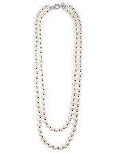 Long 2 Strand Pearl & Black Bead Necklace