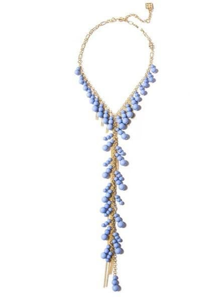 Dew Drops Lariat Necklace In Light Blue