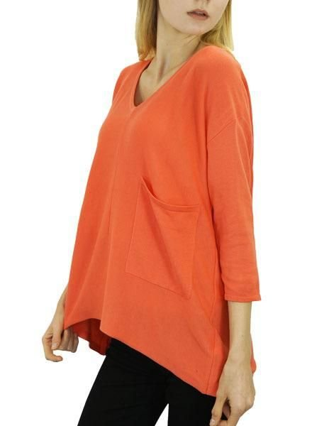 Renuar Renuar Big Sweater In Hot Coral