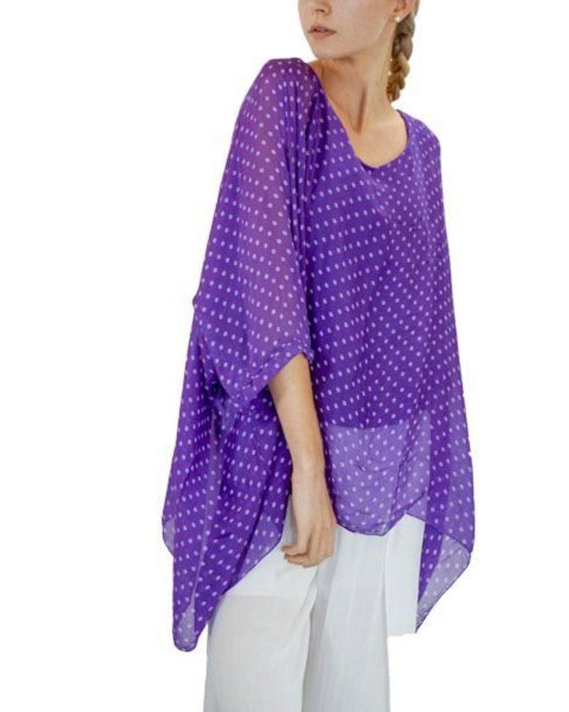 Italian Silk Dot Top In Purple