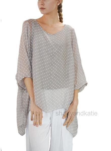 Italian Silk Dot Top In Taupe