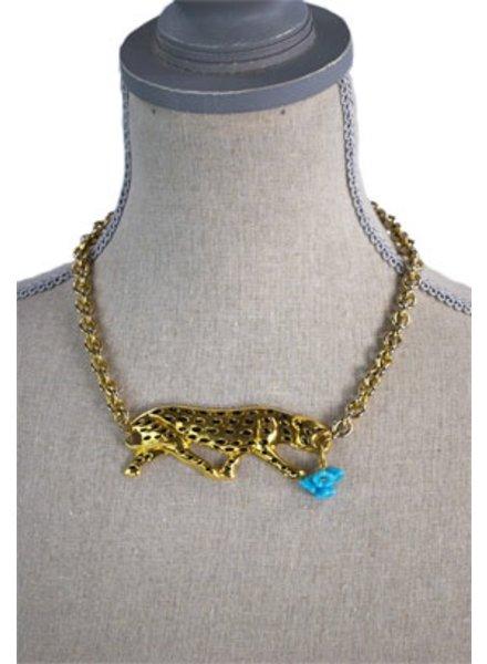 Vintage Re-Purposed Leopard Necklace