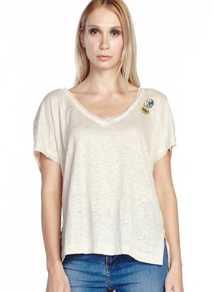 Aratta Aratta's Feeling's Tee Shirt In Ivory