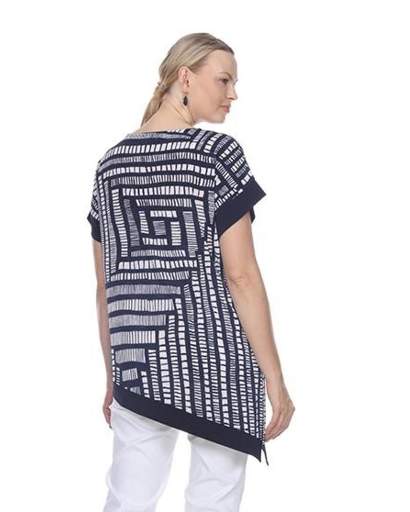 Terra's Asymmetrical Printed Tunic In Navy