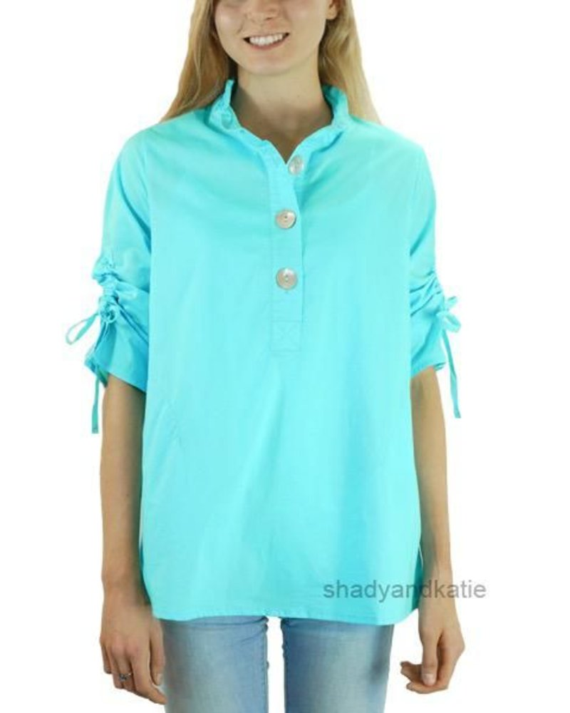 Terra's Ruched Sleeve Top In Turquoise