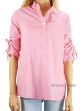 Terra's Ruched Sleeve Top In Real Pink
