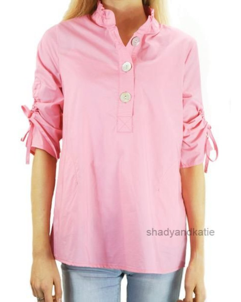 Terra Terra's Ruched Sleeve Top In Real Pink