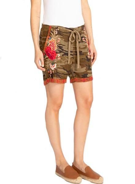Johnny Was Johnny Was Burke Linen Shorts In Molly Camo