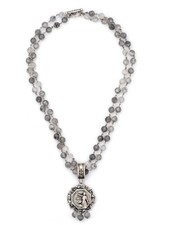 "French Kande French Kande 21"" Double Strand Faceted Cloudy Quartz & Lace Medallion"