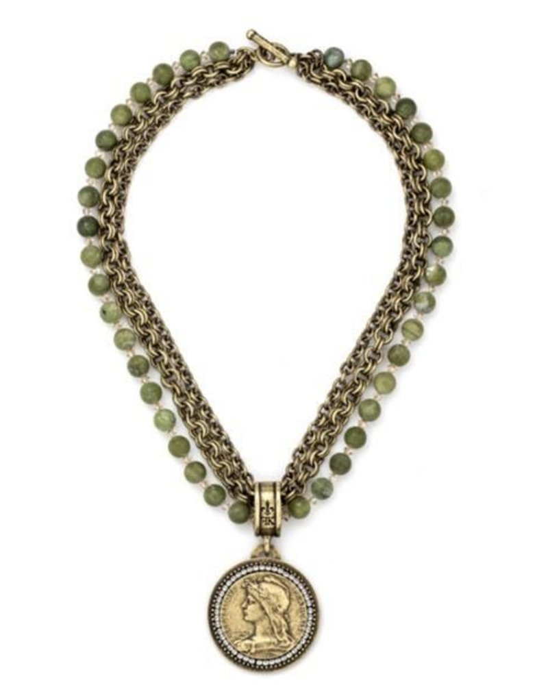 "French Kande French Kande 38"" Jade & Chemins Medallion & Crystals"