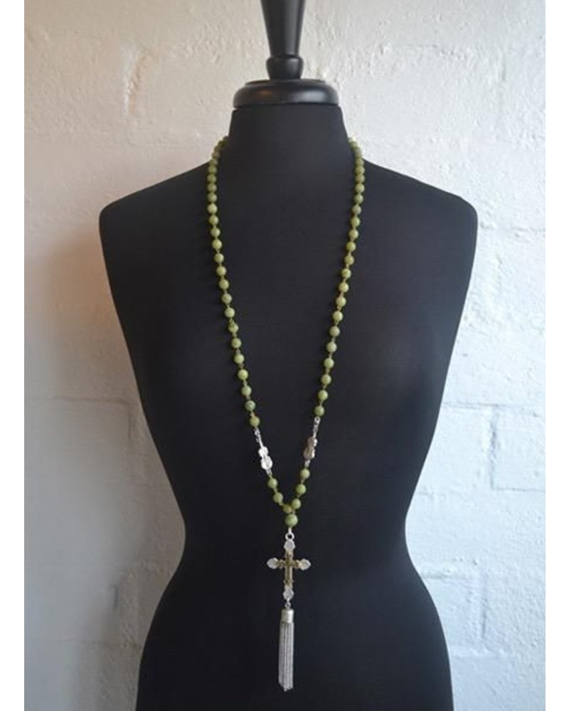 French Kande French Kaned Jade Violin & Double Cross With Tassel