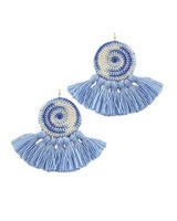 Crocheted Tassel Earrings In Blue