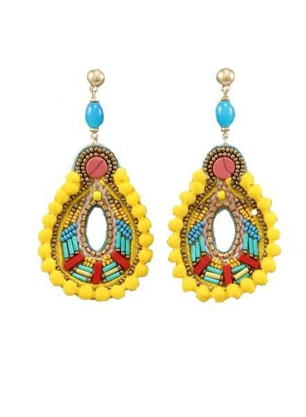 Pompom Teardrop Earrings