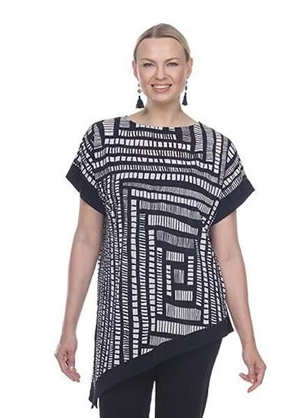 Terra's Asymmetrical Printed Tunic In Black