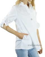 Terra's Ruched Sleeve Top In White
