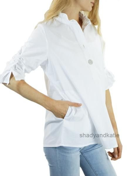 Terra Terra's Ruched Sleeve Top In White