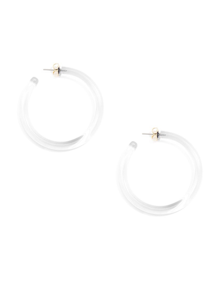 Large Classic Lucite Hoop Earrings Clear