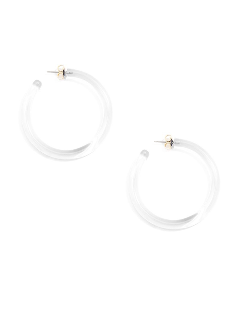 7585e43536c03 Large Classic Lucite Hoop Earrings Clear