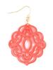 Baroque Resin Drop Earrings In Coral