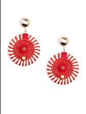 Striped Pinwheel Drop Earrings In Red