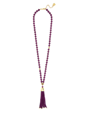 Resin & Metal Beaded Tassel Necklace In Berry