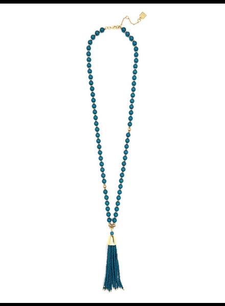 Resin & Metal Beaded Tassel Necklace In Teal
