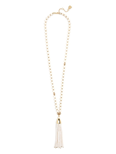 Resin & Metal Beaded Tassel Necklace In Cream