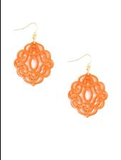 Baroque Resin Drop Earrings In Bright Orange