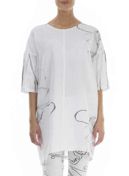 Griza's Linen Tunic In Floating Flowers