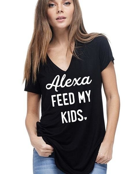 """Alexa Feed My Kids"" Tee In Black"