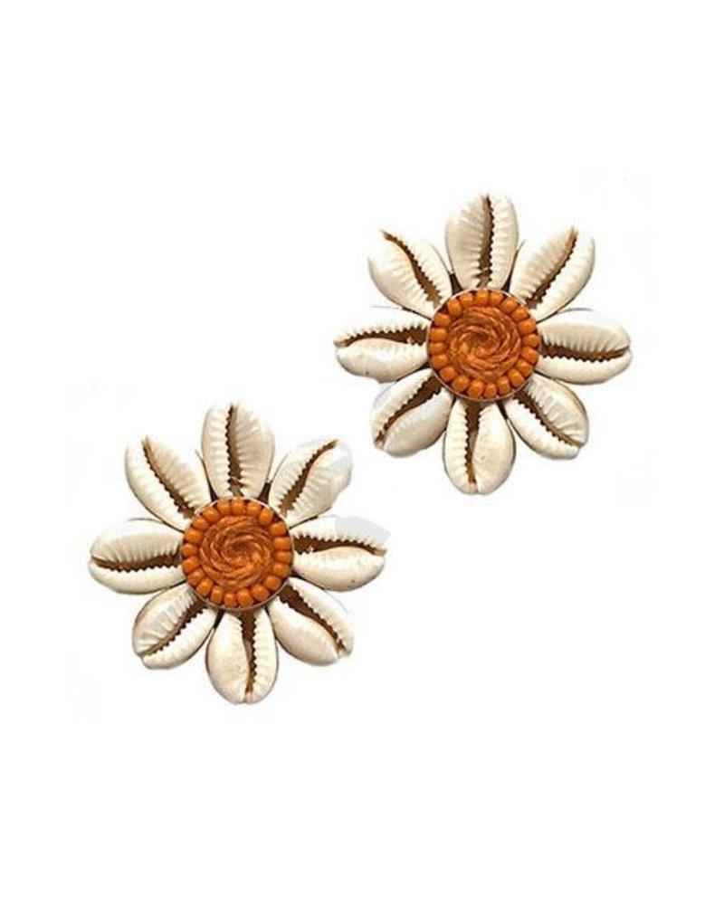 Floral Shell In Natural & Orange