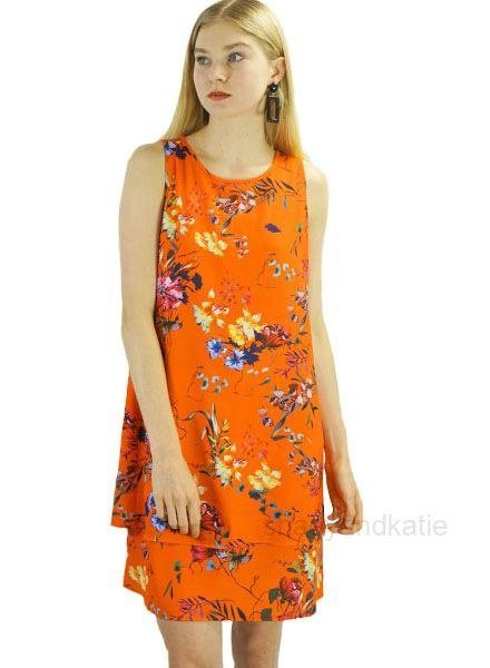 Renuar Renuar's Hibiscus Dress In Tropical Tangerine
