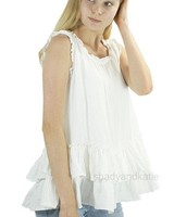 Paper Lace Paper Lace Ruffle & Pintuck  Top In Cream