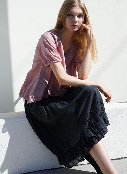 J.P. & Mattie J.P. & Mattie's Pleated Bedhead Skirt In Black