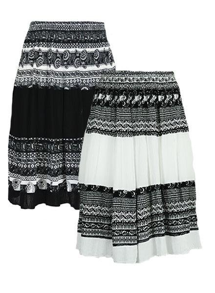 Short Peasant Skirt In Black Or White