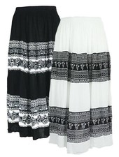 Knee Length Peasant Skirts In Black Or White