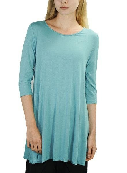 Comfy USA 3/4  Sleeve Tunic Top In Jade