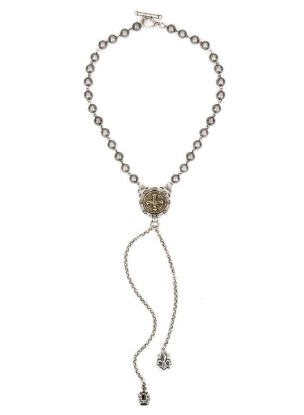 French Kande French Kande Silver Bead, Mini Saint Benedict Medallion, Crown And Dangles