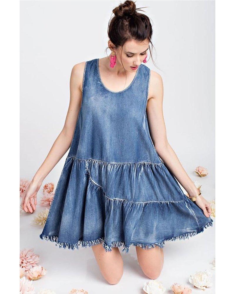 Distressed Baby Doll Denim Dress