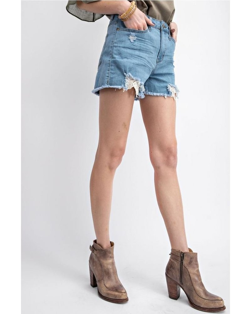 Sofia Crochet Trim Light Denim Shorts