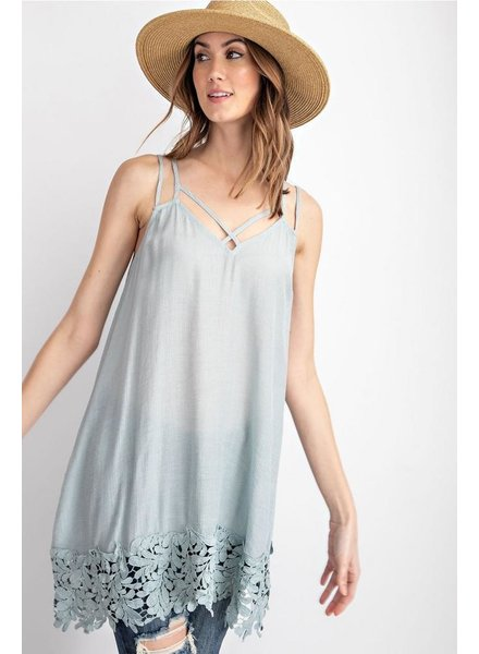 Crochet Hem Cami In Blue Grey