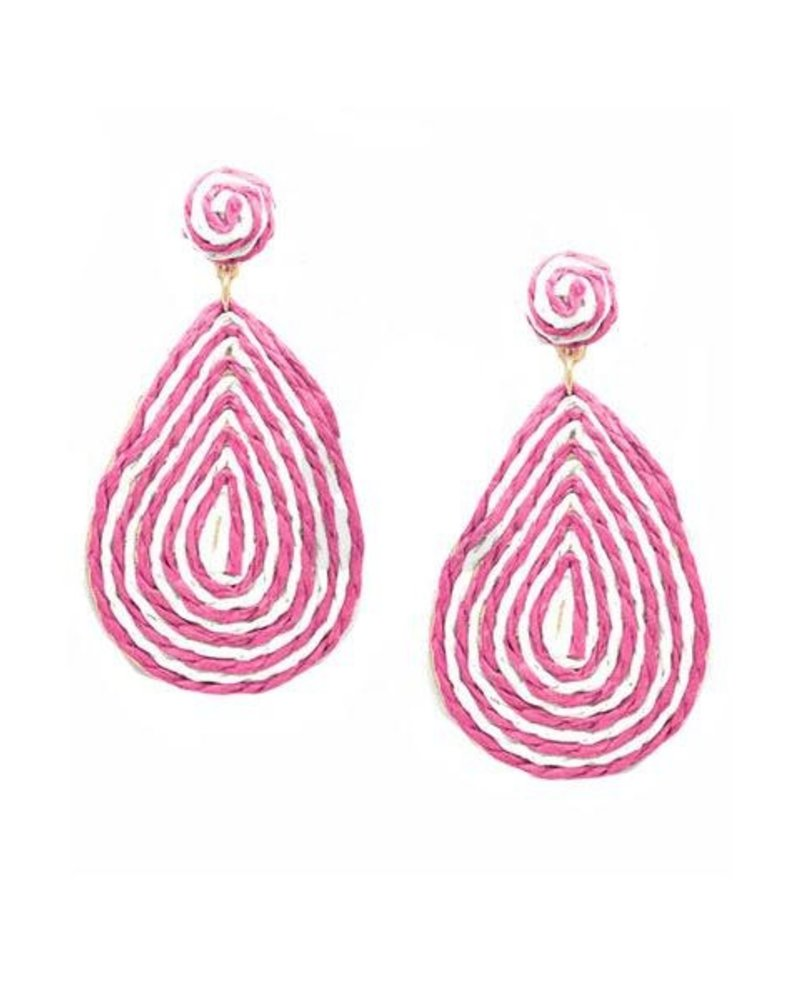 Candy Teardrop Raffia Earrings