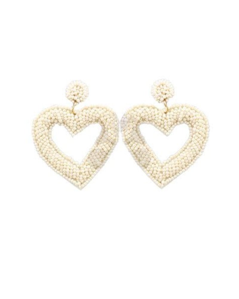 Heart Beaded Earrings In Ivory